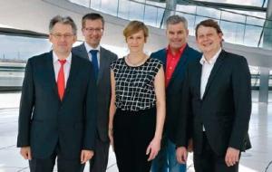 Die »Teutonenriege« der SPD-Abgeordneten aus Ostwestfalen-Lippe: Achim Post, Burkhard Blie- nert, Christina Kampmann, Dirk Becker und Stefan Schwartze (von links).